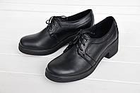 Женские классические туфли чёрного цвета на каблуке 5 см