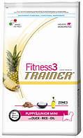 Корм для щенков мини-пород Trainer Fitness3 Puppy & Junior Mini Duck, Rice & Oil