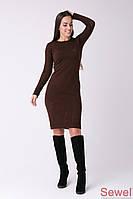 Теплое женское платье приталенное