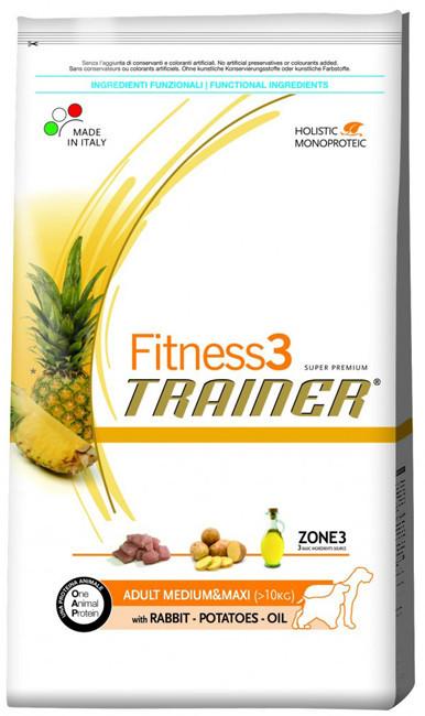 Корм для собак Trainer Fitness3 Adult Medium & Maxi Rabbit, Potatoes & Oil