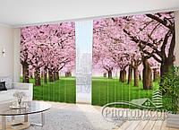"""Фото Шторы в зал """"Зеленая аллея с цветущими деревьями"""" 2,7м*2,9м (2 полотна по 1,45м), тесьма"""