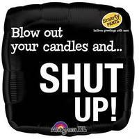 """Фольгированный шар с шуточным оскорблением """"Blow candles and shut up"""""""