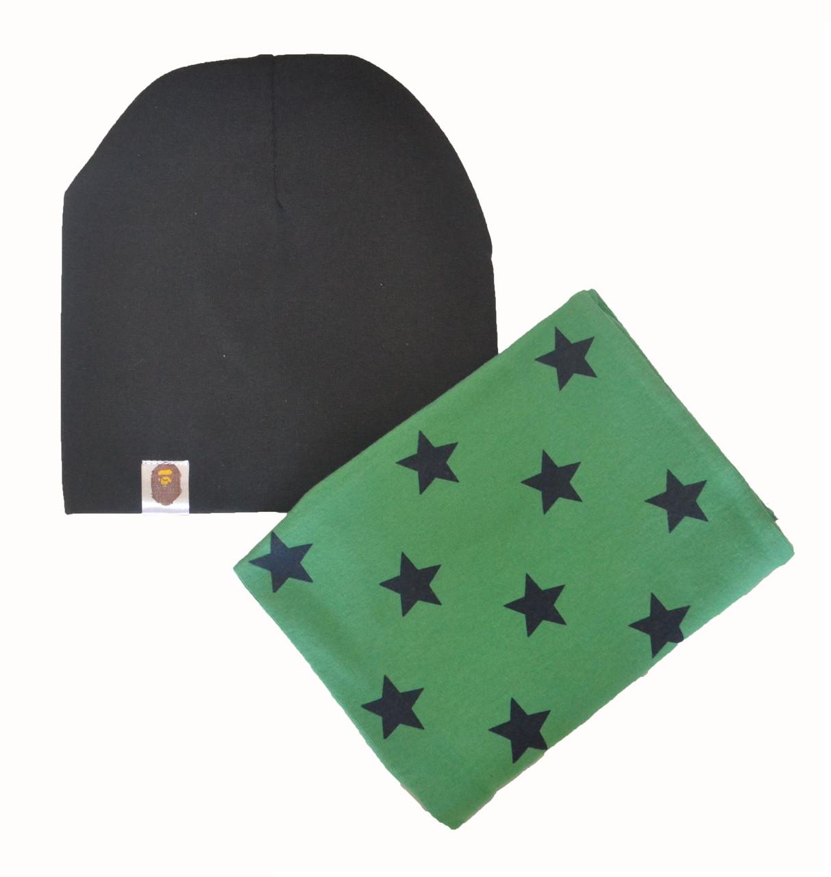 Комплект шапка и хомут детский весенний для мальчика