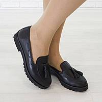 Туфли на низком ходу из натуральной кожи черный , фото 1
