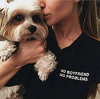 Футболка чёрная | No boyfriend No problems logo
