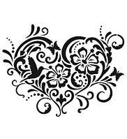 Виниловая наклейка-Сердце(цветы-узор)