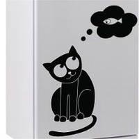Виниловая наклейка на холодильник - Кот думает