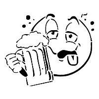 Виниловая наклейка на авто - Смайлик с пивом