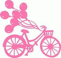 Виниловая наклейка - шарики( велосипед)