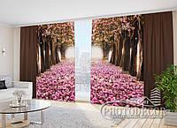 """Фото Шторы в зал """"Розовые деревья. шоколад"""" 2,7м*2,9м (2 м по 1,45м), тесьма"""
