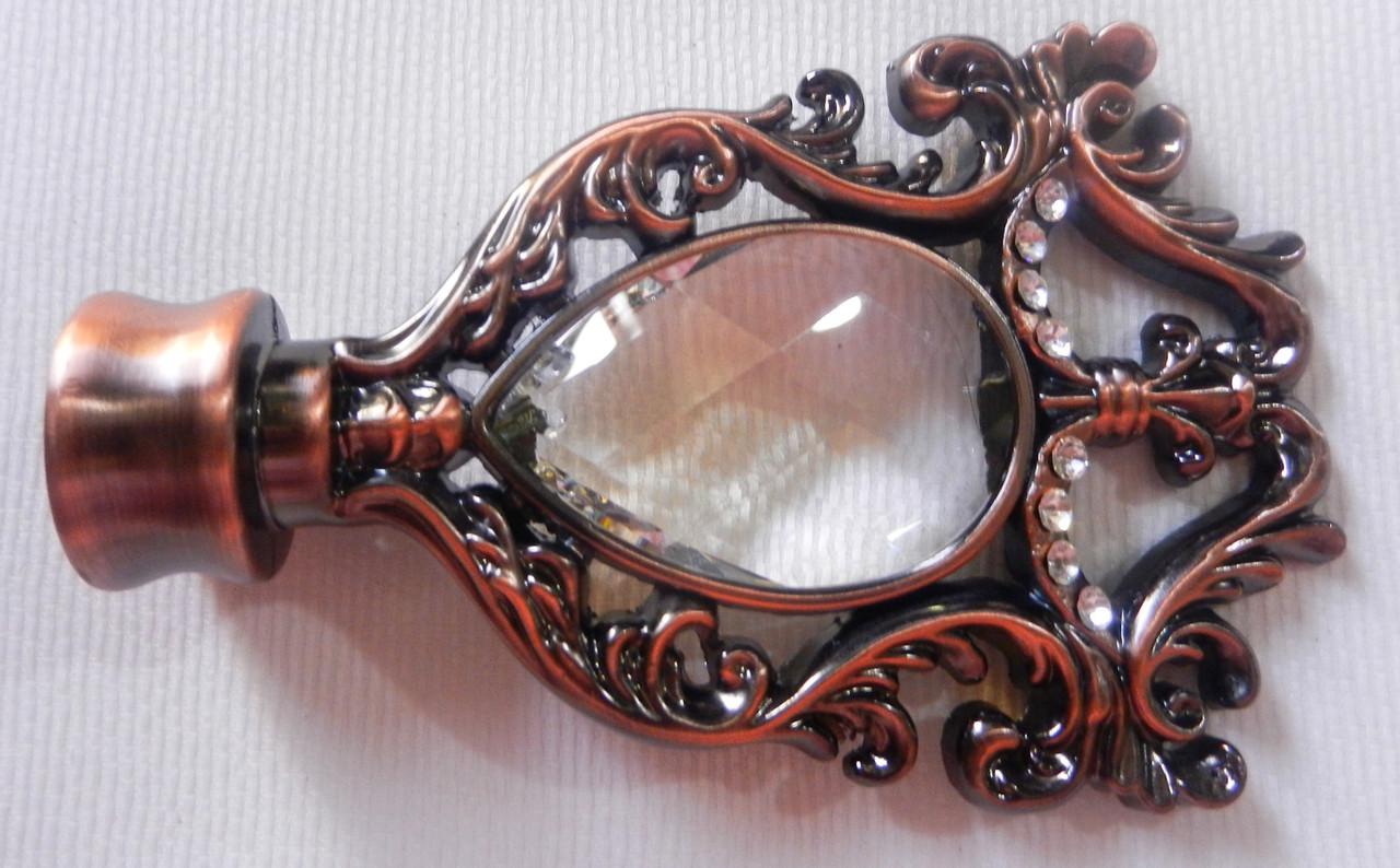 Миранда с кристаллом д. 25 мм, медь античная