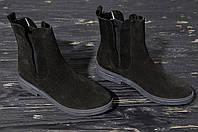 Ботинки челси женские из натурального замша осень