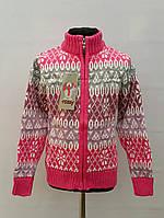 Яркая теплая кофта для девочек 128,140,152,164 роста Tossy вязка