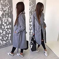 Cтильное пальто; кашемир; 3 цвета; Цвет Серный