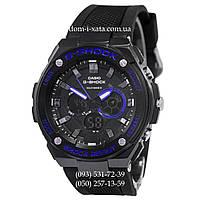 Электронные часы Casio G-Shock GST-210 All Black-Blue, спортивные часы Джи Шок черный-синий