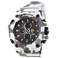 Электронные часы Casio G-Shock Ferrari Grade Militari-White, спортивные часы Джи Шок феррари военные