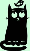 Виниловая наклейка-Коте с птичкой на голове
