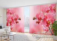 """Фото Шторы в зал """"Розовые орхидеи"""" 2,7м*3,5м (2 полотна по 1,75м), тесьма"""
