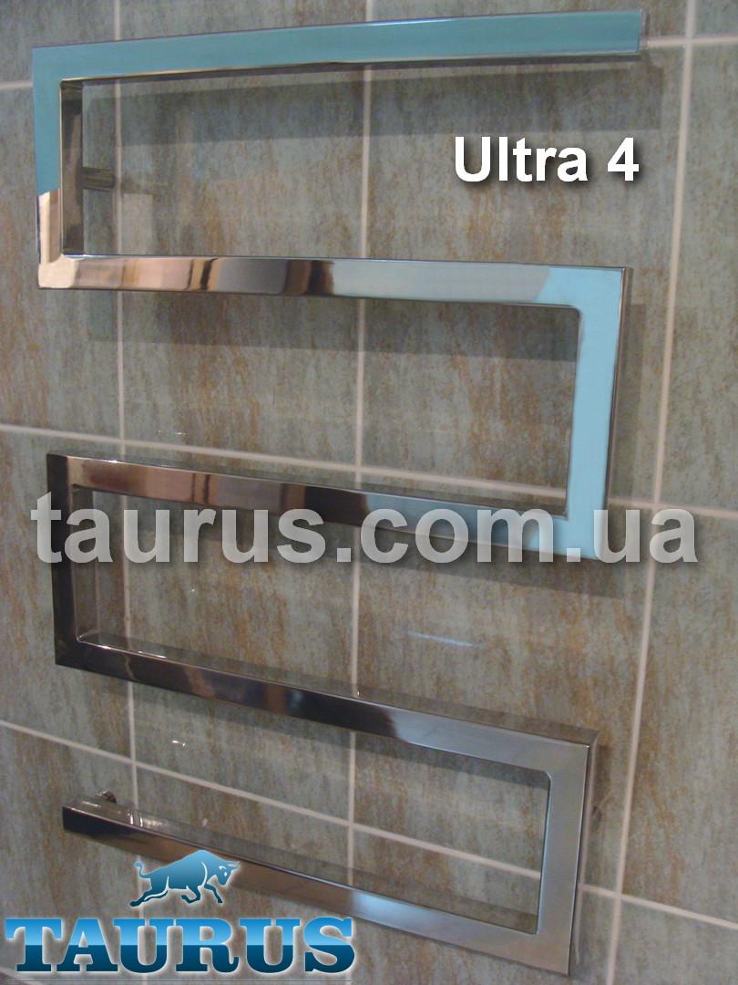 Дизайнерский водяной полотенцесушитель Ultra 4 / 700 х 600 мм. Форма зигзаг из квадратной трубы