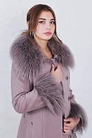 Пальто кашемировое зимнее женское  мех ламы