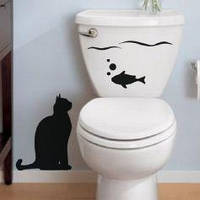 Виниловая интерьерная наклейка - Кот с рыбкой 2