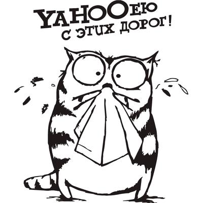 Виниловая наклейка - Yahooею с этих дорог кот (от 10х15 см)