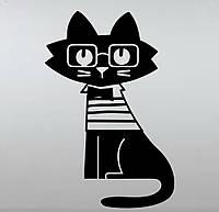 Виниловая наклейка-Кот музыкант