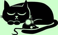 Виниловая наклейка-Коте спит с мышкой