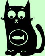 Виниловая наклейка- Кот хочет кушать рыбку
