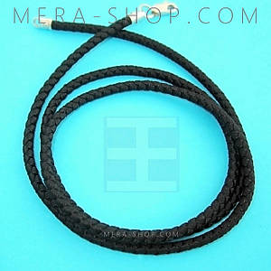 Шёлковый плетеный шнурок с серебряным замком (⌀2.5 мм, черный, любая длина, серебро 925 пробы)