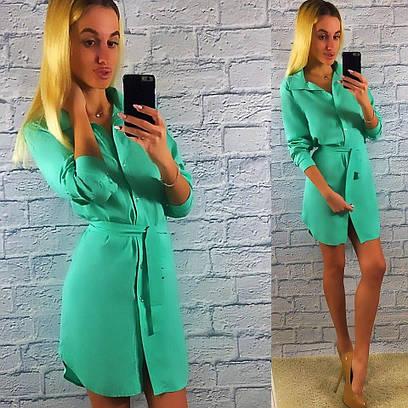 Стильное женское платье-рубашка с длинным рукавом