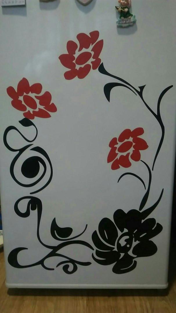 Виниловая наклейка на холодильник ( Красные,черные цветы) набор от 30х40 см