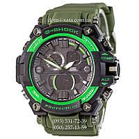 Электронные часы Casio G-Shock GWA-1045 Black-Green Militari Wristband, спортивные часы Джи Шок зеленый-черный