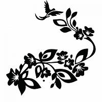 Виниловая наклейка - Узор цветы птичка (от 15х15 см)