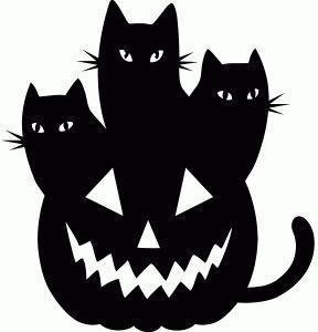 Вінілова наклейка - Коти на гарбузі