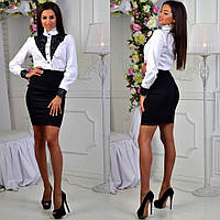 Стильный женский деловой костюм: белая рубашка+черная юбка . Арт-2601/39