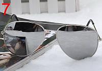 Легендарные солнцезащитные очки Aviator с зеркальным покрытием в серебряной оправе