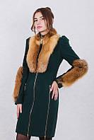 Пальто кашемировое зимнее женское мех лисы