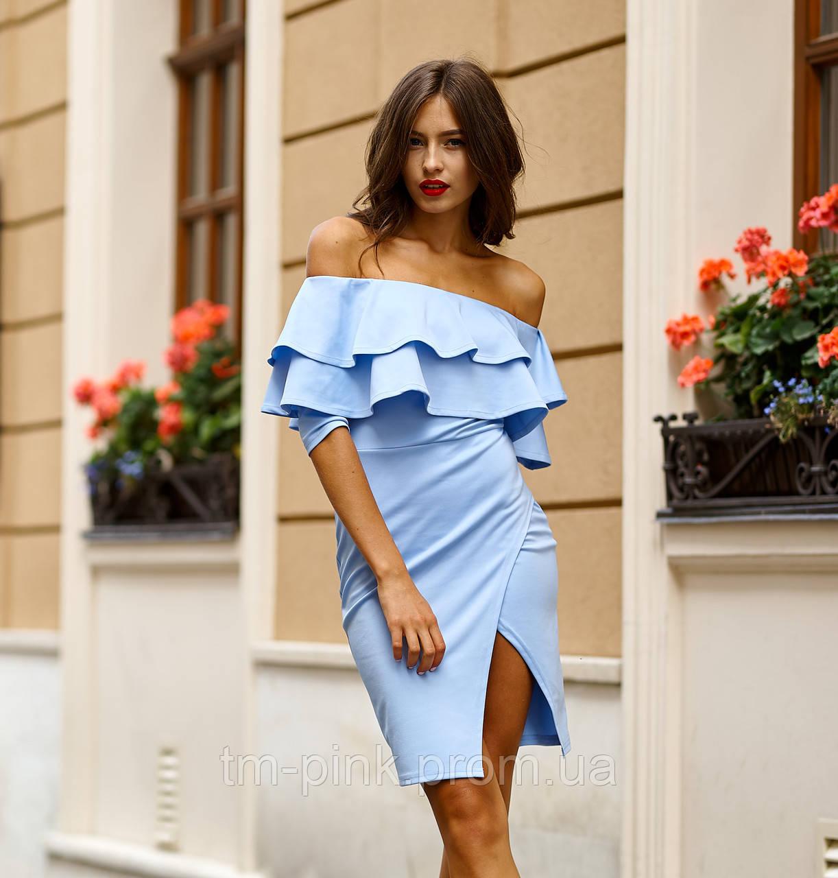 """Сукня лодочка 2 рюші 3/4 рукав """"Оксамит"""" блакить платье рюши"""