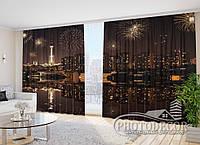 """Фото Шторы в зал """"Салют в ночном городе"""" 2,7м*2,9м (2 половинки по 1,45м), тесьма"""