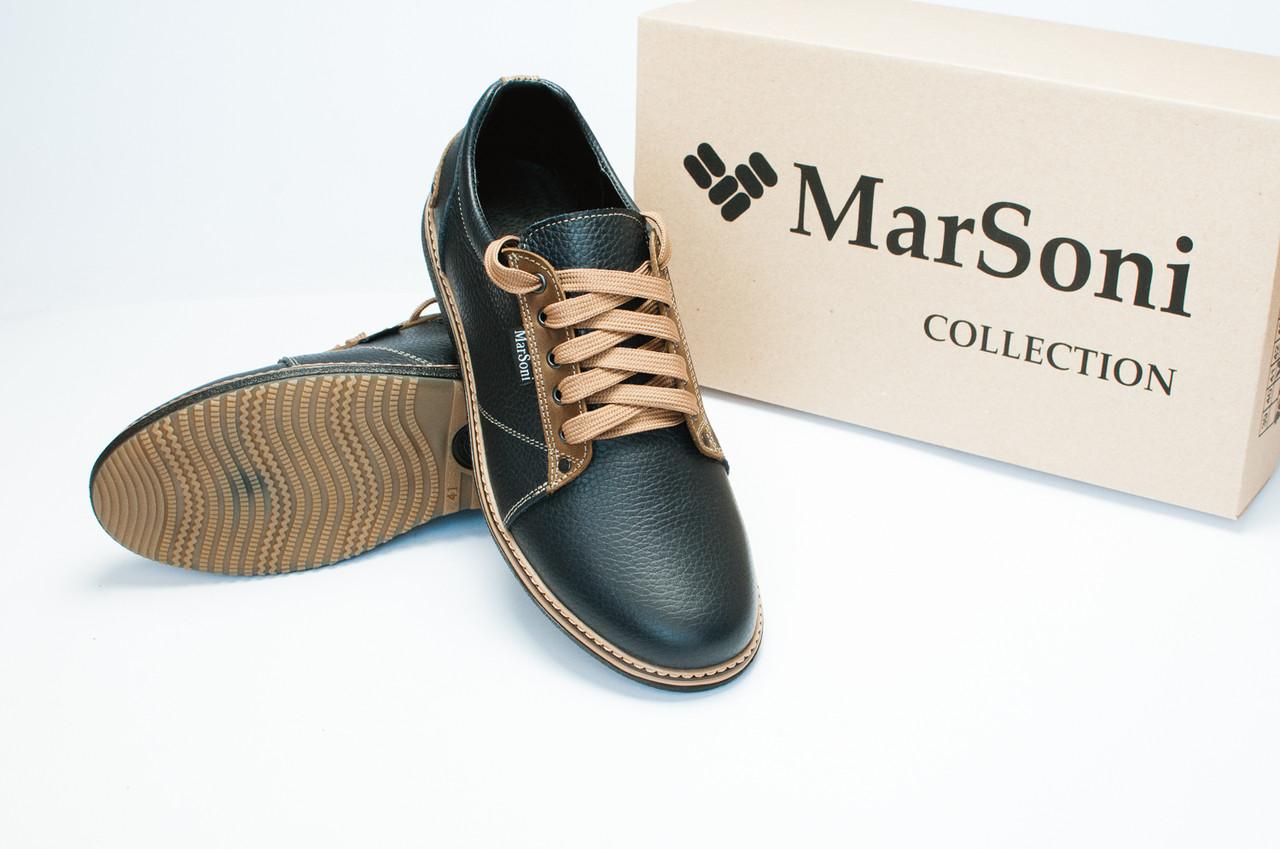 Темно синие туфли из натуральной кожи