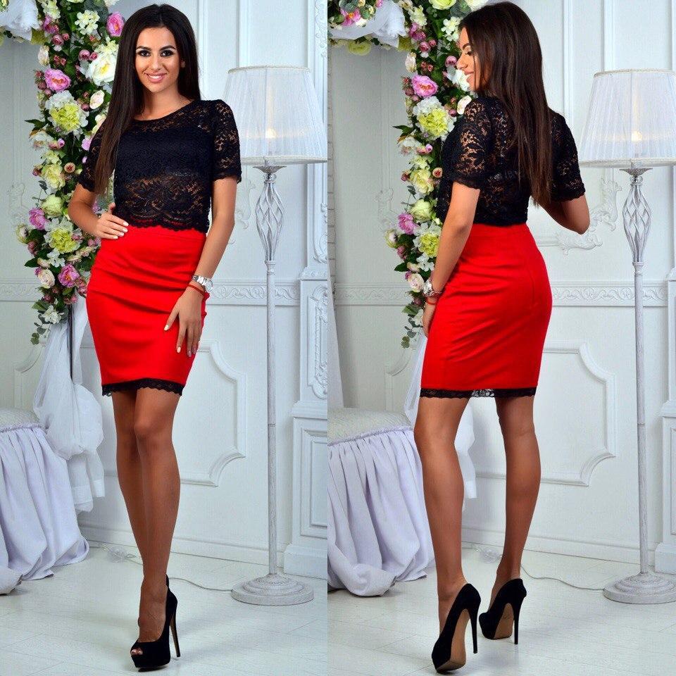 1ab972c74f9f Летний женский костюм: черный кружевной топ + красная трикотажная  юбка-карандаш с ...
