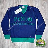 Свитер пуловер Polo с V-образным вырезом синий с зеленым