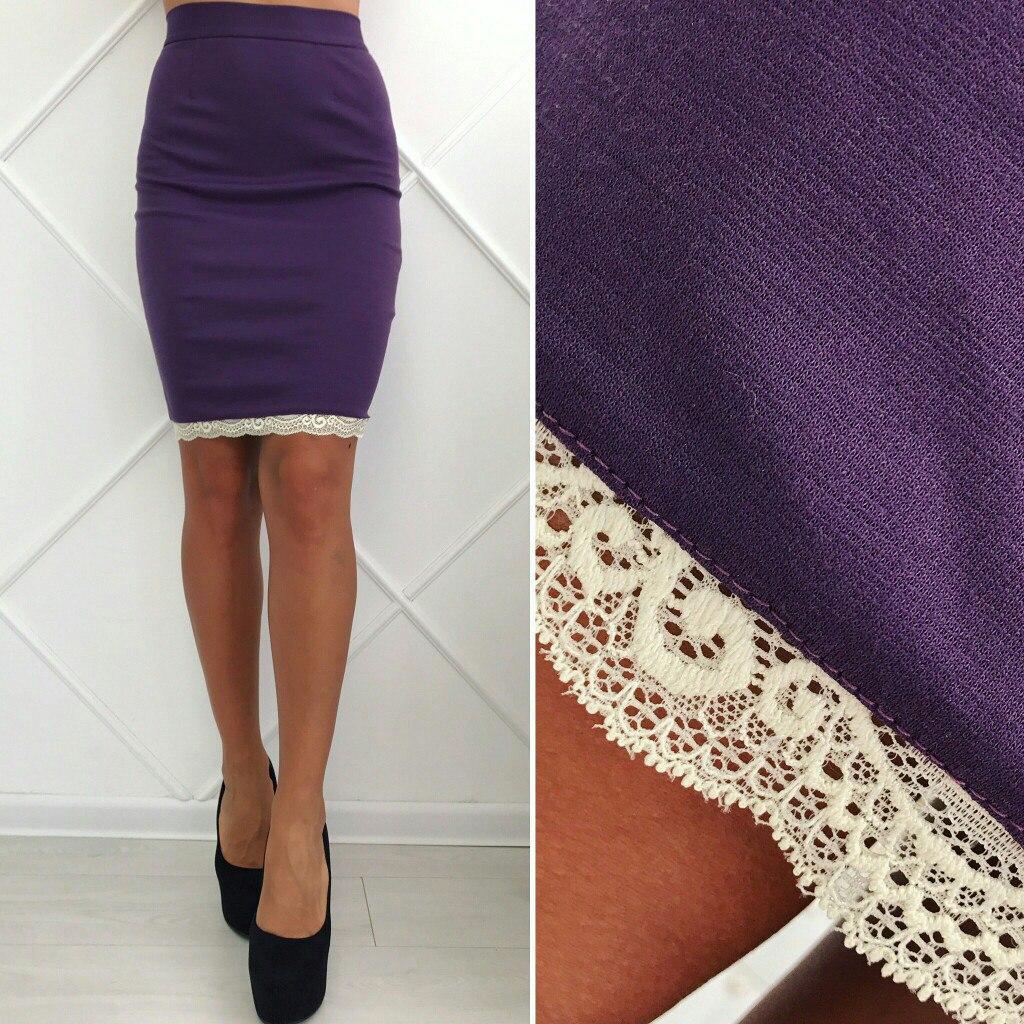 833fe6e58d3 Фиолетовая стильная трикотажная облегающая юбка-карандаш с кружевом внизу.  Арт-2605 39