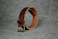 Кожаный ремень под джинсы  10903  Вишневый