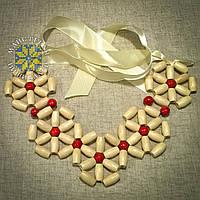 """Намисто """"Кольє квіти"""" із дерев'яних намистин білого (натурального) та червоного кольрів"""