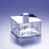 Windisch Box-сосуд косметический 85*85*65мм  (хром)  растрескавшееся стекло