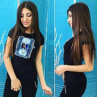 Женская молодежная стильная летняя черная футболка с джинсовой нашивкой . Арт-2609/39