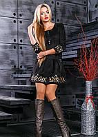 Замшевое черное осеннее женское платье 2380