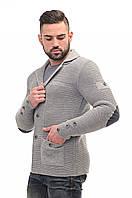 Пиджак мужской вязаный стильный светло-серый